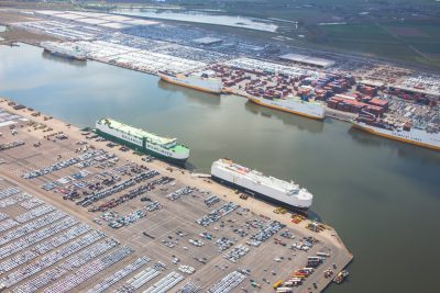 car terminal Port of Antwerp aerial photograph