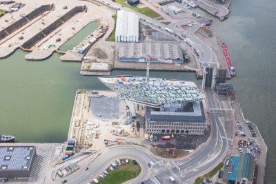 Havenhuis Antwerpen in constructie luchtfoto