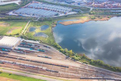 spoorvervoer Antwerpse haven luchtfoto