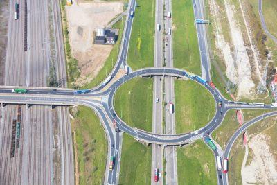 Rond punt infrastructuur haven Antwerpen luchtfoto