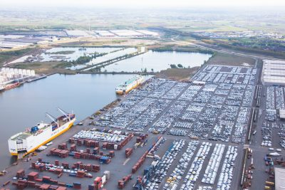 AET terminal roro Antwerpse haven luchtfoto